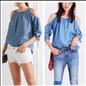 Madewell indigo cold shoulder top